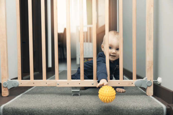 pressure mounted walk through baby gate