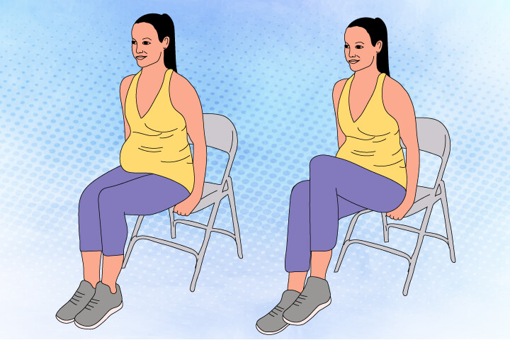 Sitting Knee Lift in Pregnancy Core Exercise