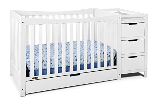 convertible cribs with changing tale attached