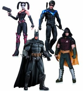 Arkham City Harley Quinn, Batman, Nightwing, & Robin Action