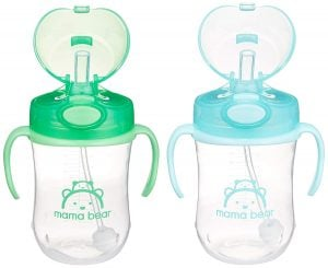 Amazon Brand – Mama Bear Weighted Straw Sippy Cup