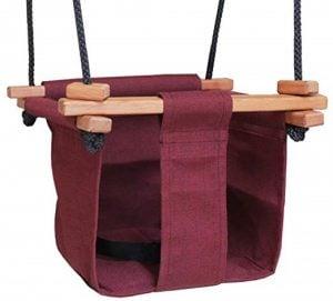 Baby KEA Swing, Burgandy Indoor or Outdoor Wood, Rope, Canvas Swing