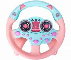 Luerme Steering Wheel Toy Electric Musical Simulated Driving Steering Wheel