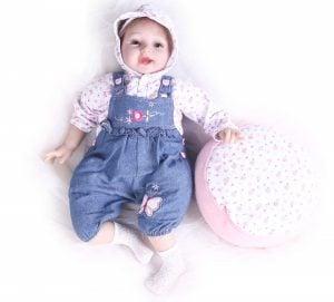 Pompon 22 Inch Life Like Reborn Baby Dolls Girl Vinyl Silicone Newborn Baby Doll Realistic
