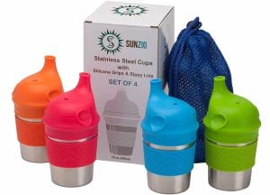 SunCraft Stainless Steel Cups with Silicone Sippy Lids