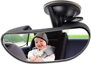 Baby Mirror for Car, GES Rear View Mirror 360 Degree Adjustable Strengthen Suction Cup Mirror for Car